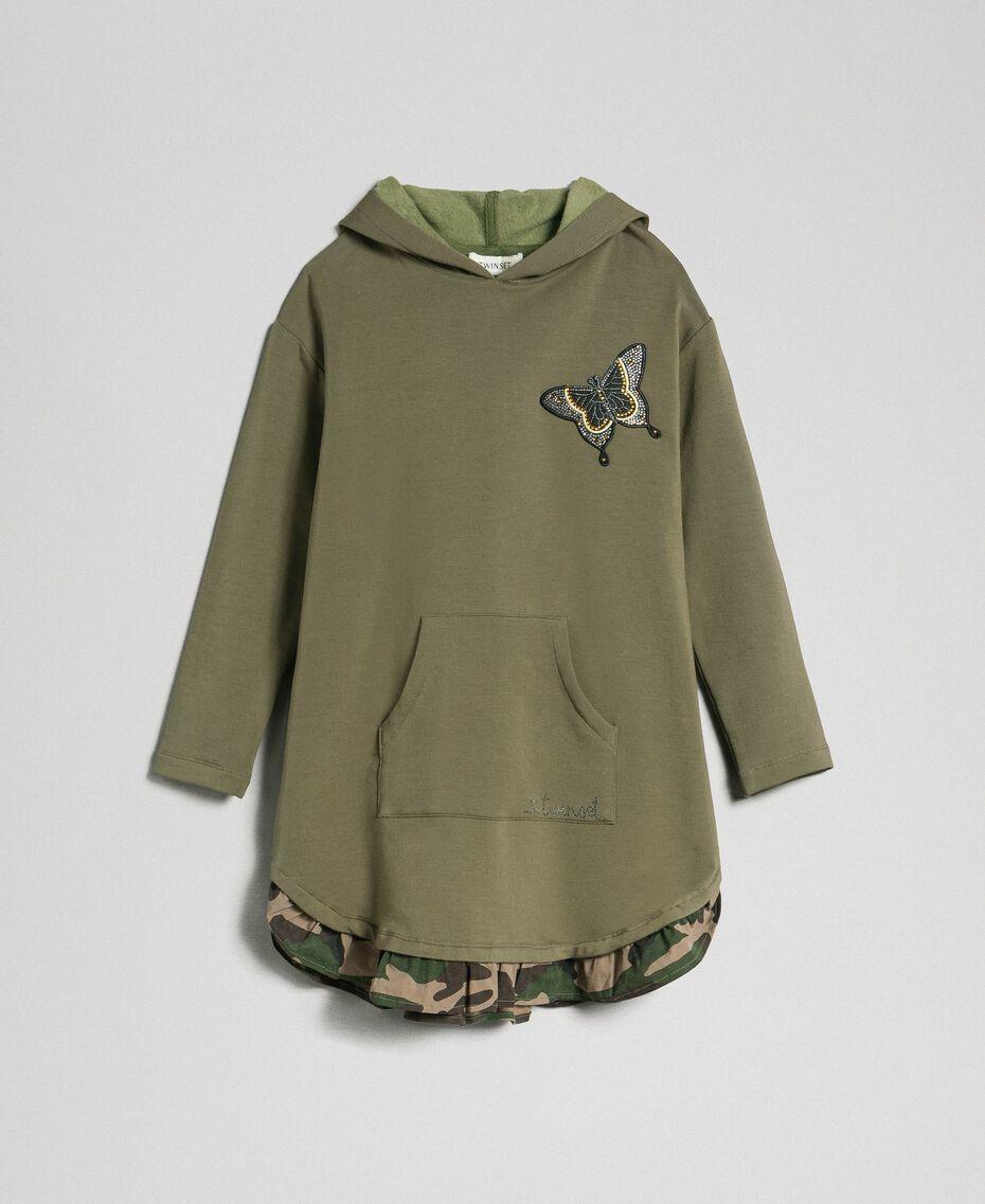 Robe en molleton avec capuche et patch papillon Vert «Alpin» / Imprimé Camouflage Enfant 192GJ2561-0S