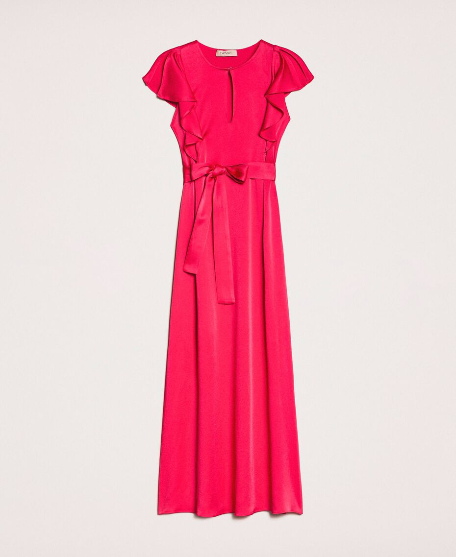 Long dress with frilled sleeves Black Cherry Woman 201TP2284-0S