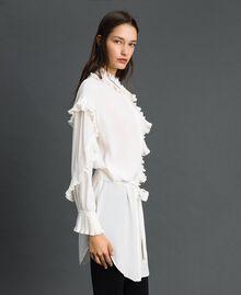 Kleid aus Crêpe de Chine aus Seidenmischung Weiß Schnee Frau 192TP2101-03
