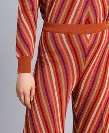 "Hose aus Lurexjacquard mit mehrfarbigem Streifenmuster Jacquard ""Gebranntes"" Orange / Lurexstreifen Frau TA838A-04"