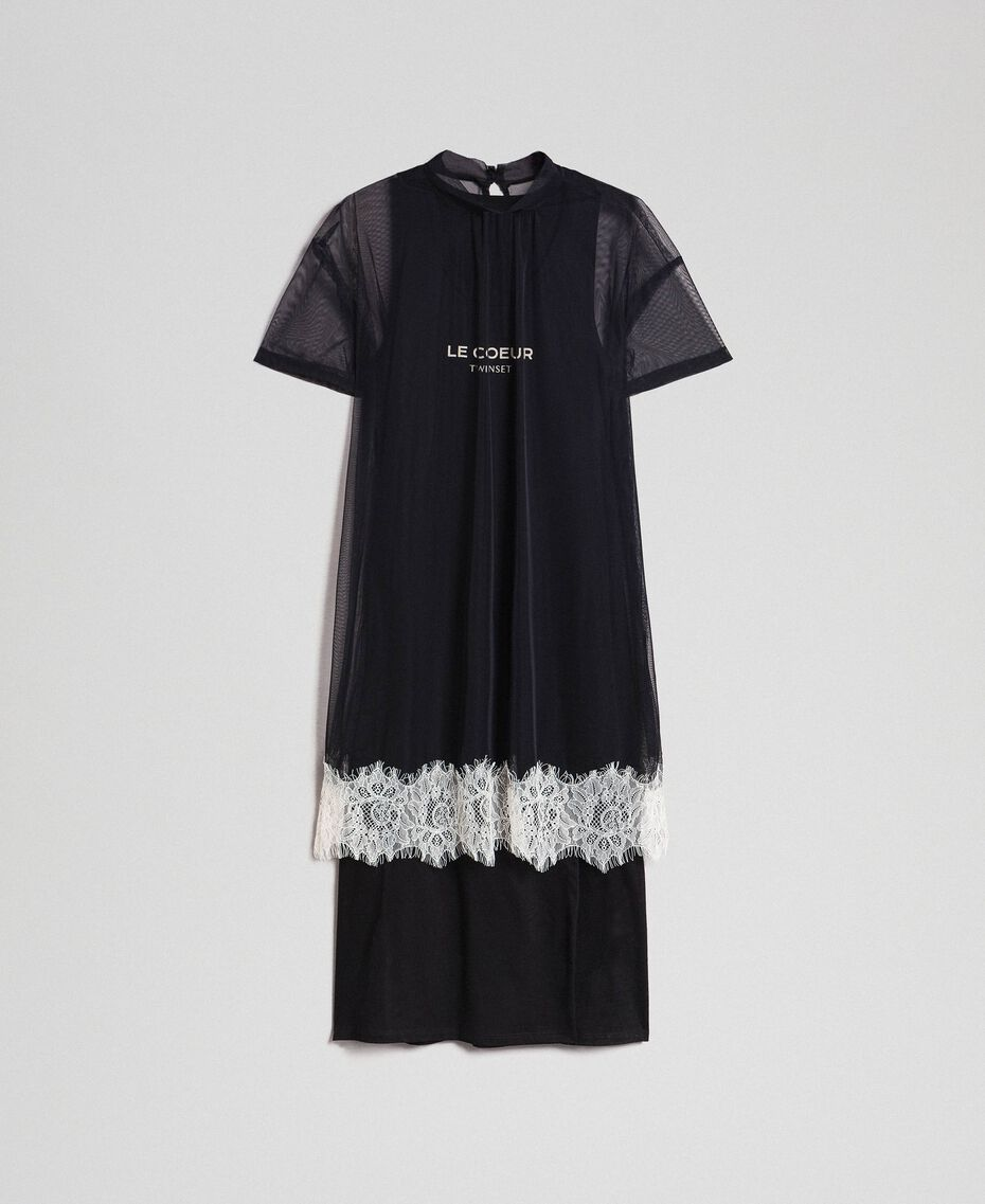 Midi dress with lace flounce and logo Black Woman 192ST2194-0S