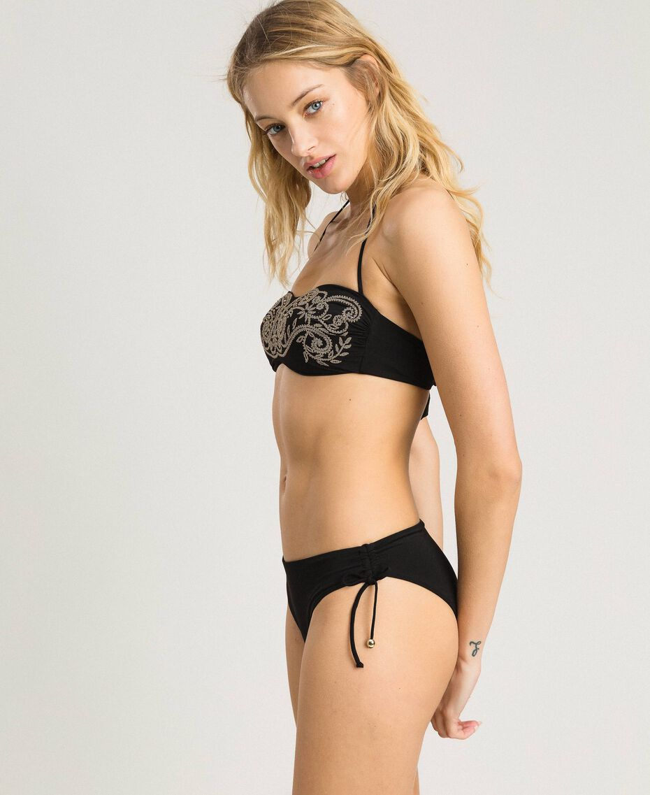 Solid colour bikini bottom with drawstring Black Woman 191LMMR99-0S
