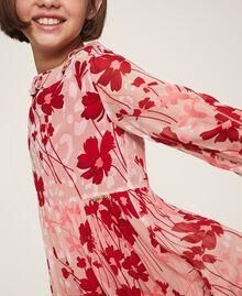 Kleid aus Georgette mit Blumendessin Blumen-Animal-Dessin Pfirsich / Kirschrot Kind 202GJ262A-05