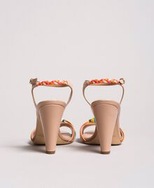 "Two-tone leather sandals ""Nude"" Beige Woman 191TCT018-02"