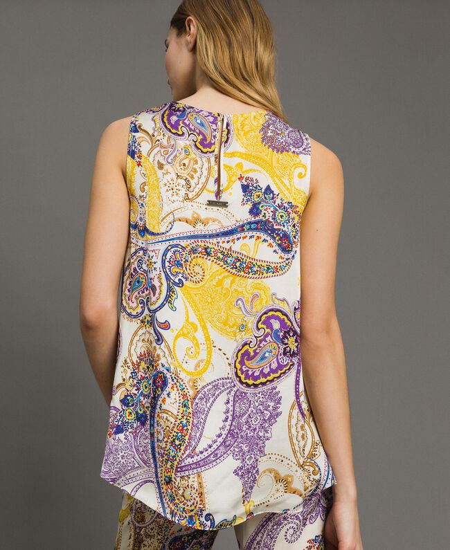 """Satin top with paisley pattern """"Milkyway"""" Beige / Paisley Print Woman 191LM2SFF-03"""