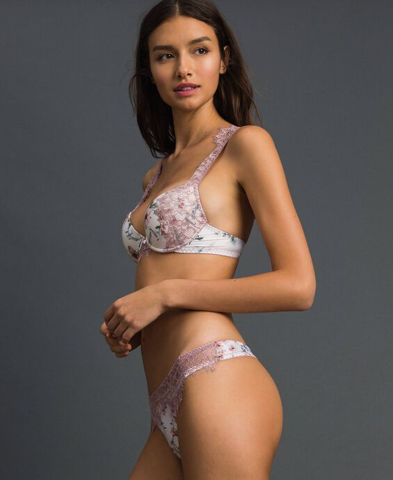 Floral push-up bra with lace