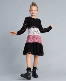 "Multi-coloured lace dress Multicolour ""Blush"" Pink / Black / Roses Child GA82QC-0S"