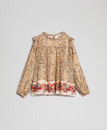 Bluse aus Georgette mit Animal- und Blumenprint Print Leopard / Blumen Kind 192GJ2571-0S