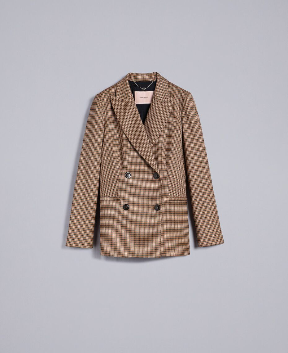"Double-breasted wool blend jacket ""Burnt"" Orange Small Check Jacquard Woman TA821U-0S"