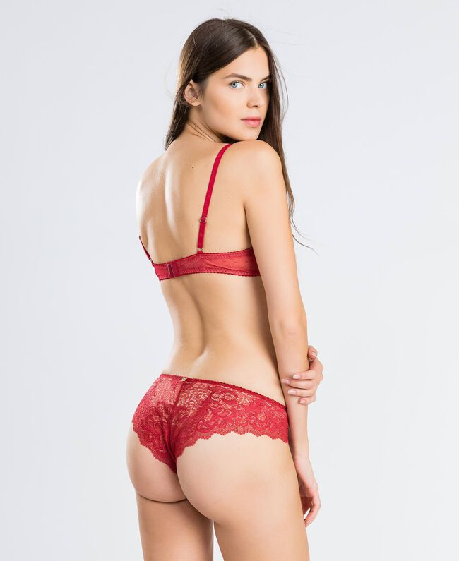 """Scalloped lace pleated push-up (C cup) """"Reddish"""" Red Woman LA8A4C-03"""