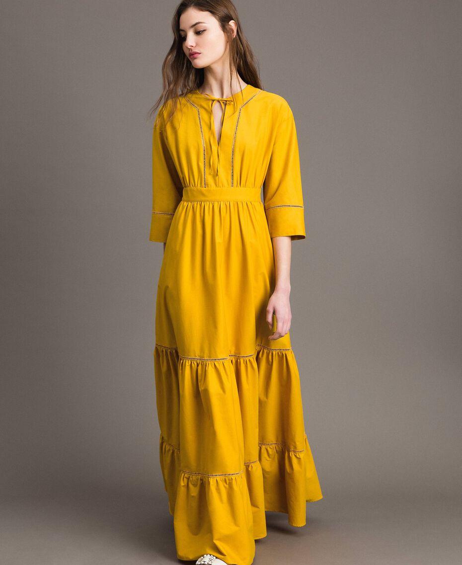 "Poplin long dress with hemstitch ""Honey Gold"" Woman 191TT2241-02"