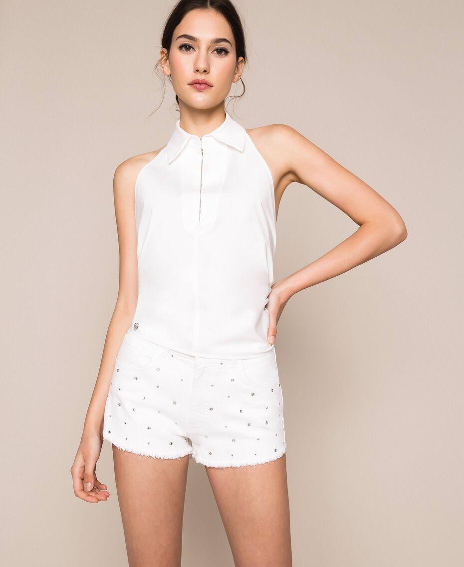 Short strassé Blanc Neige Femme 201TP2131-02