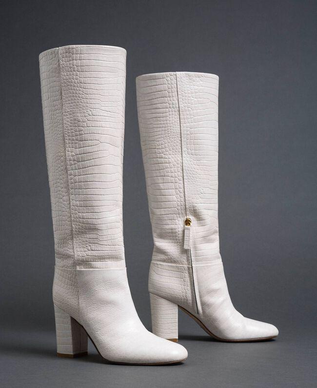 """Stivali in pelle a stampa coccodrillo Stampa Coccodrillo Bianco """"Neve"""" Donna 192TCT036-01"""