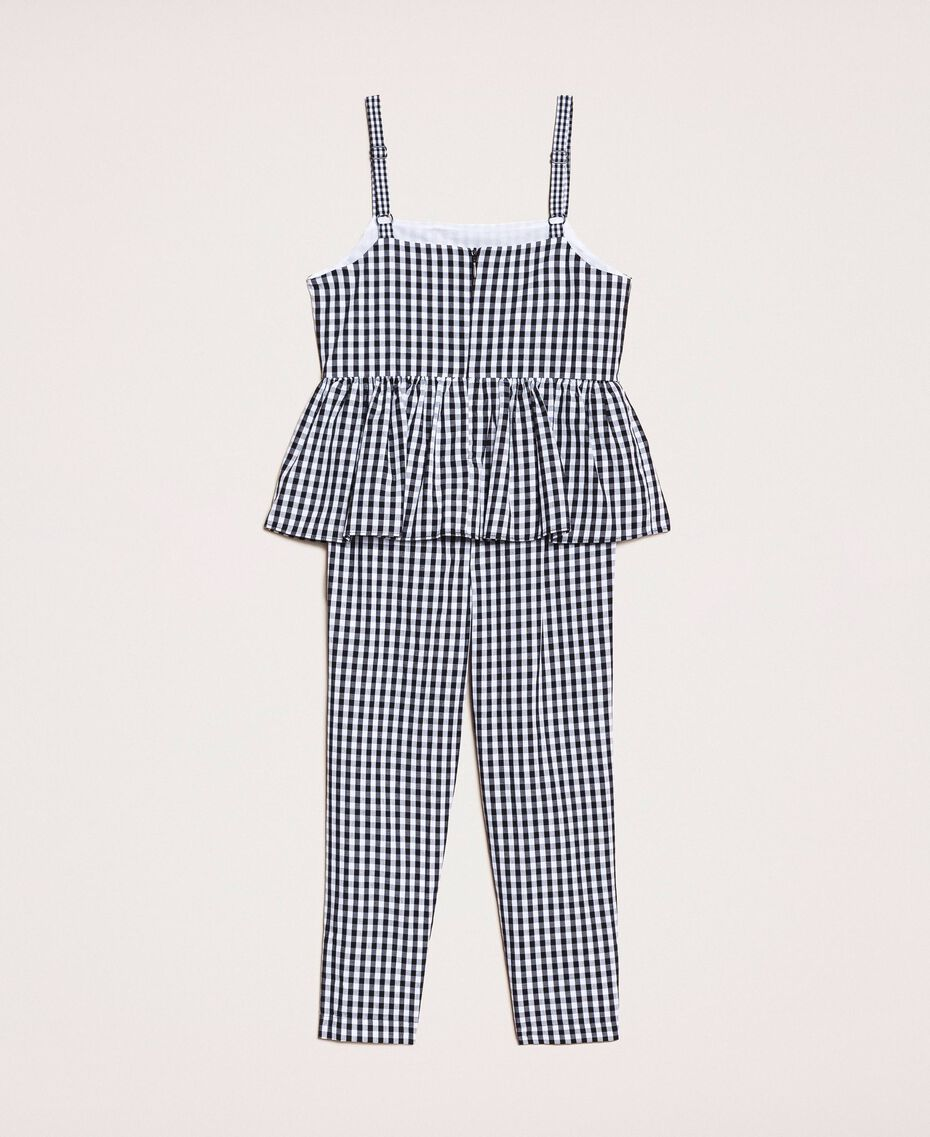 Gingham jumpsuit with flounce Vichy Jacquard Mix Child 201GB2091-0S