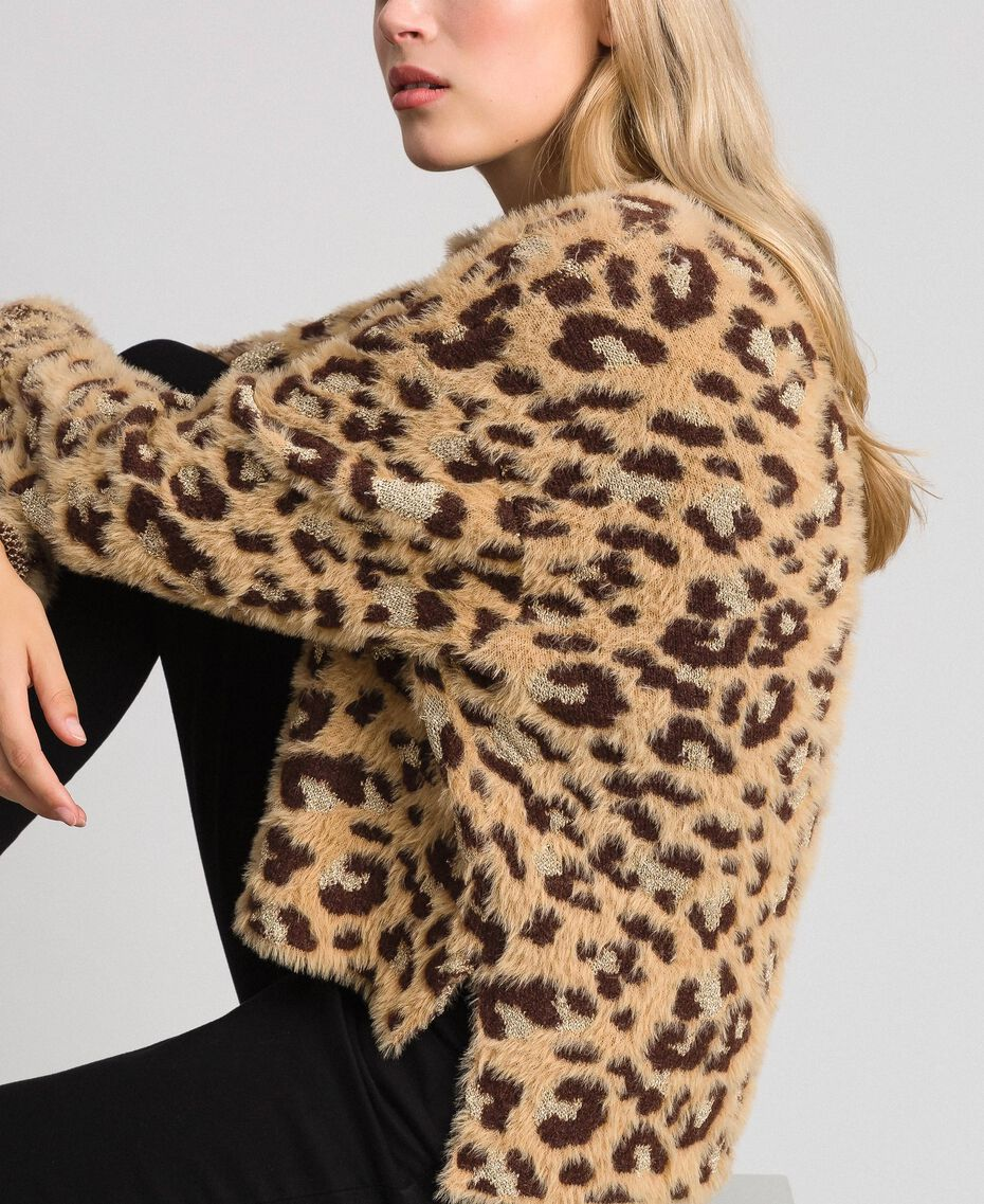 Animal print jacquard jumper with lurex Leopard Print Jacquard Woman 192TT3261-02