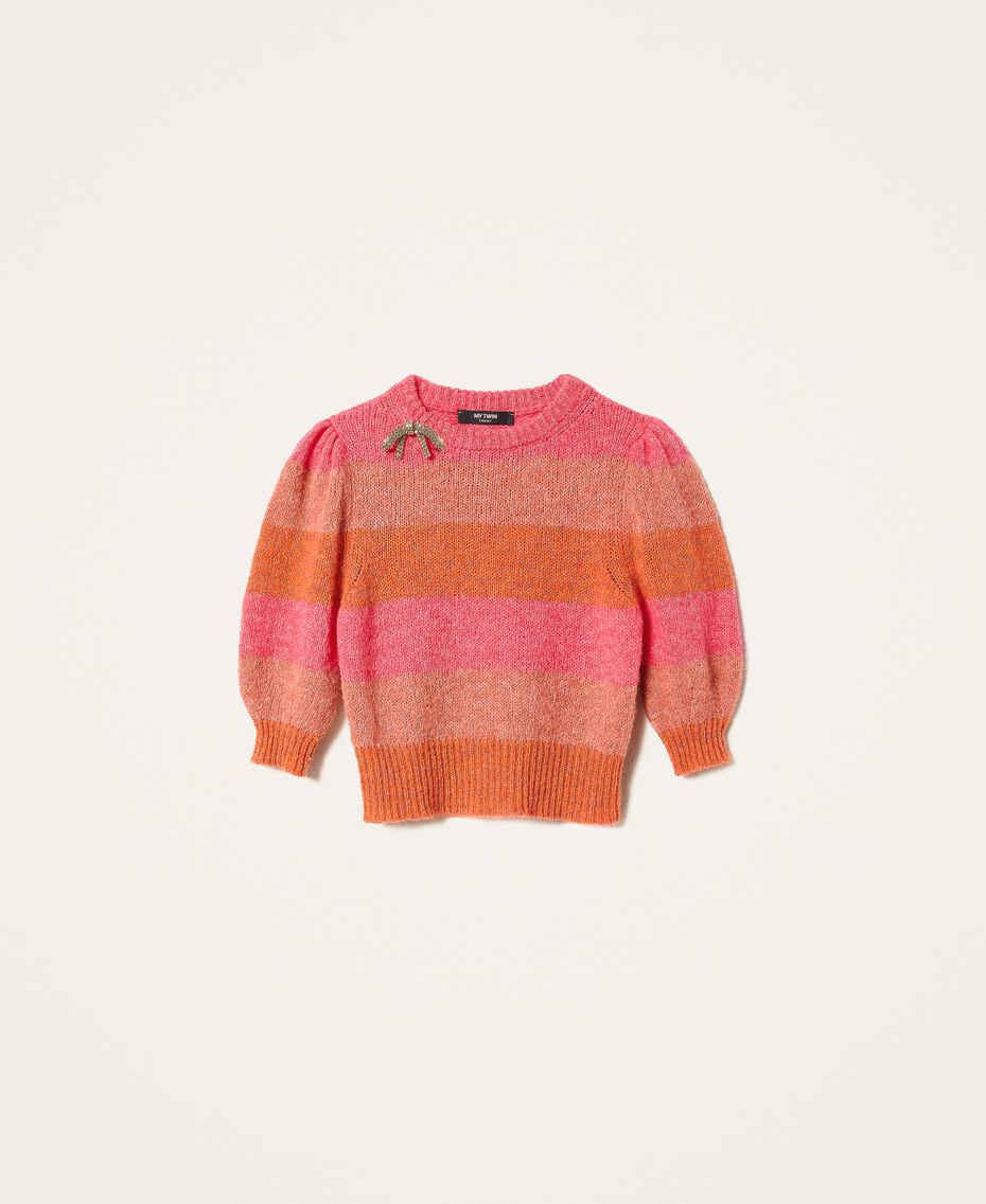 Pull en mohair mélangé rayé Multicolore Gerbera / Tawny Orange / Rose Brillant Femme 202MT3160-0S