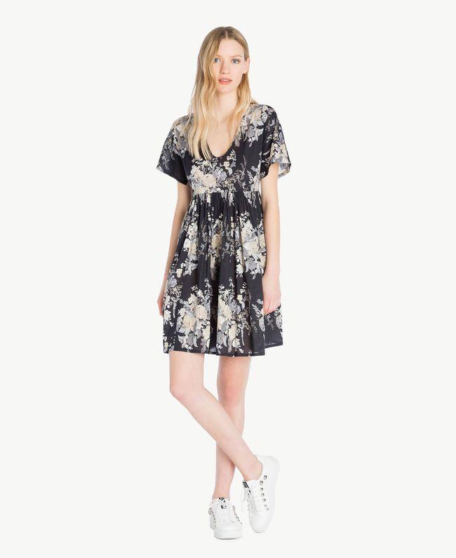 Kleid mit Print Blumenbouquetprint Schwarz Frau YS82PA-01