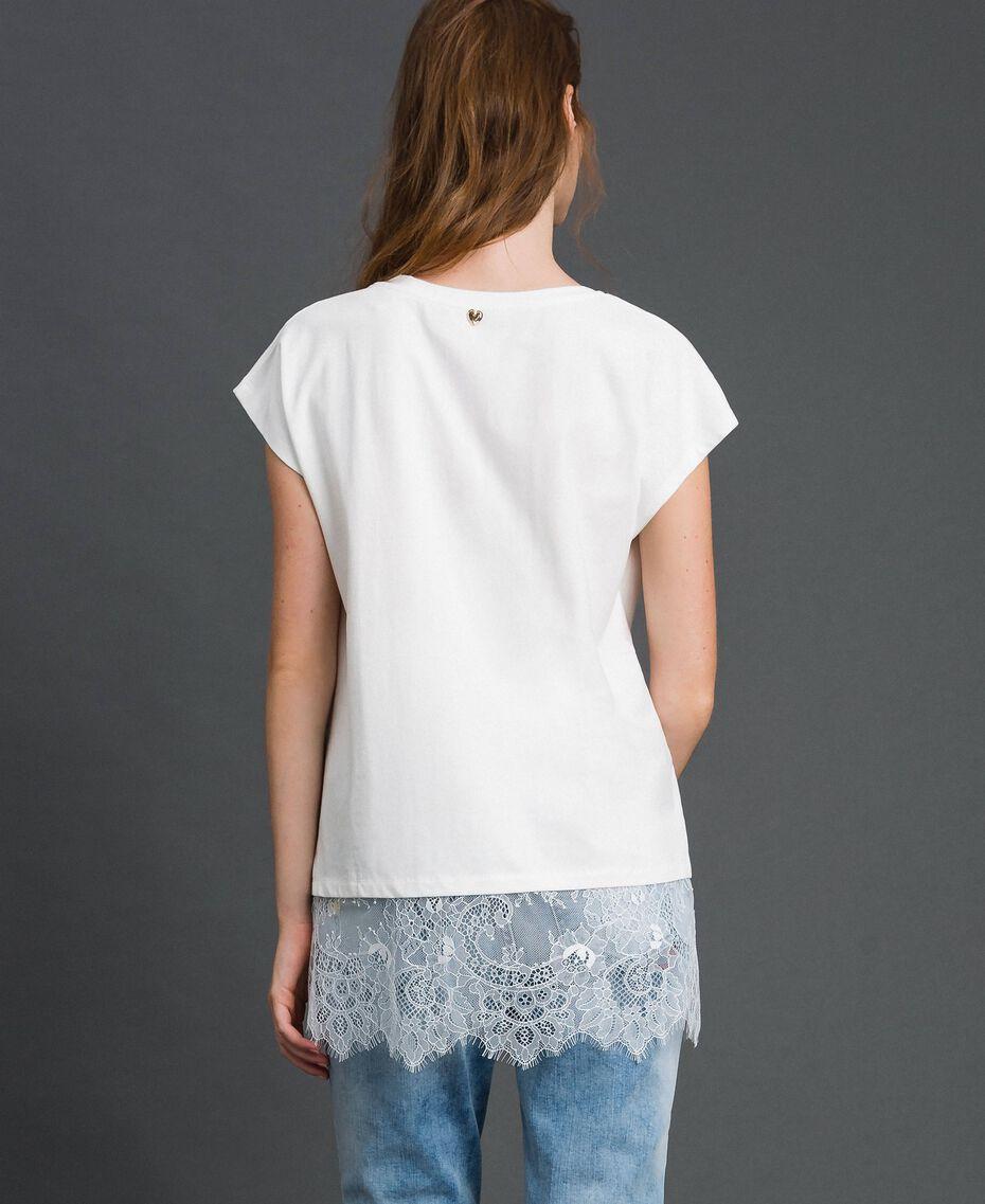 T-shirt con ricamo a cuore e pizzo al fondo Giglio Donna 192MP2431-03