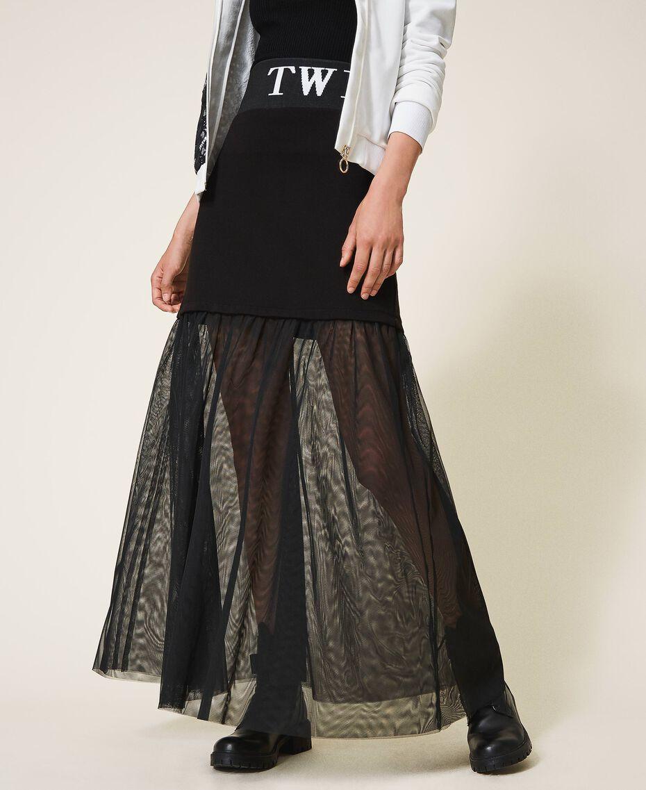 Falda larga con tul Negro Mujer 202LI2NMM-02