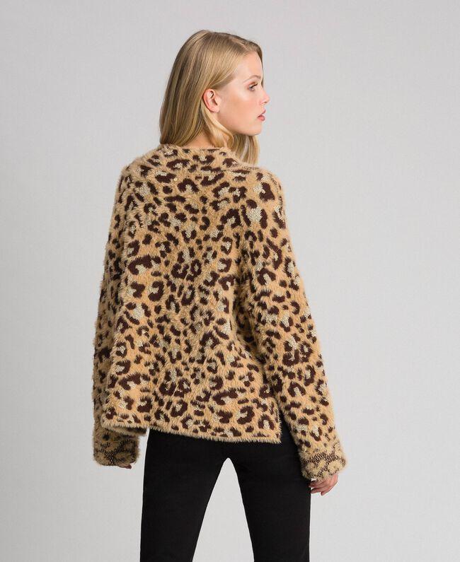 Animal print jacquard jumper with lurex Leopard Print Jacquard Woman 192TT3261-04