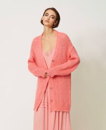 """Oversized mohair blend cardigan """"Peach Blossom"""" Pink Woman 202TP3271-03"""