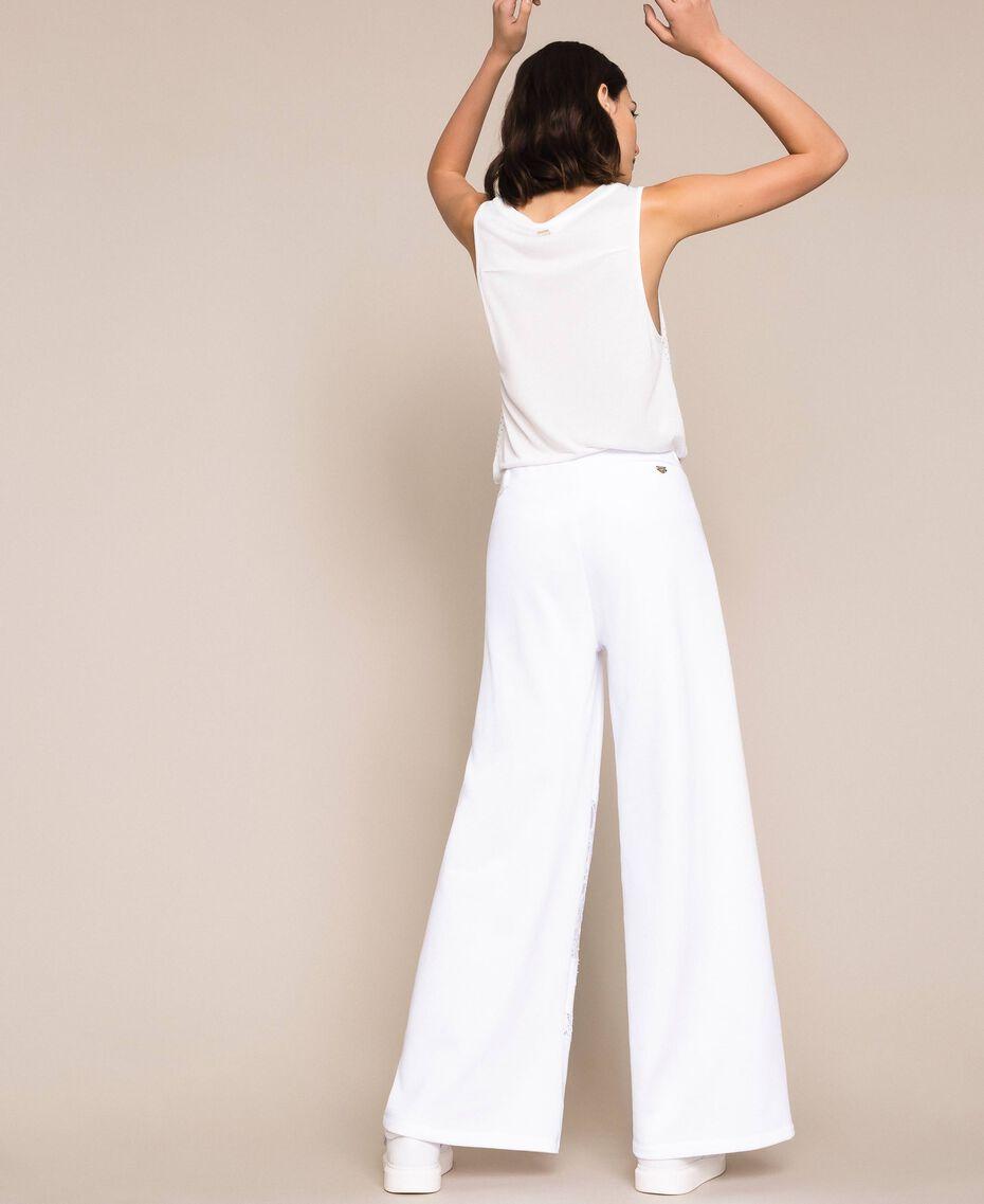 Pantaloni a palazzo in felpa con pizzo Bianco Donna 201LL2LLL-03