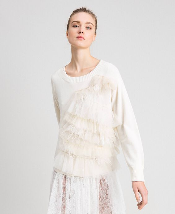 Cashmere blend jumper with tulle and feathers