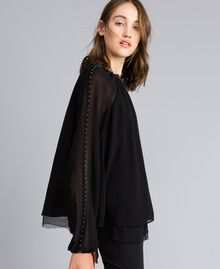 Ruched blouse with pearls Black Woman JA82MB-02