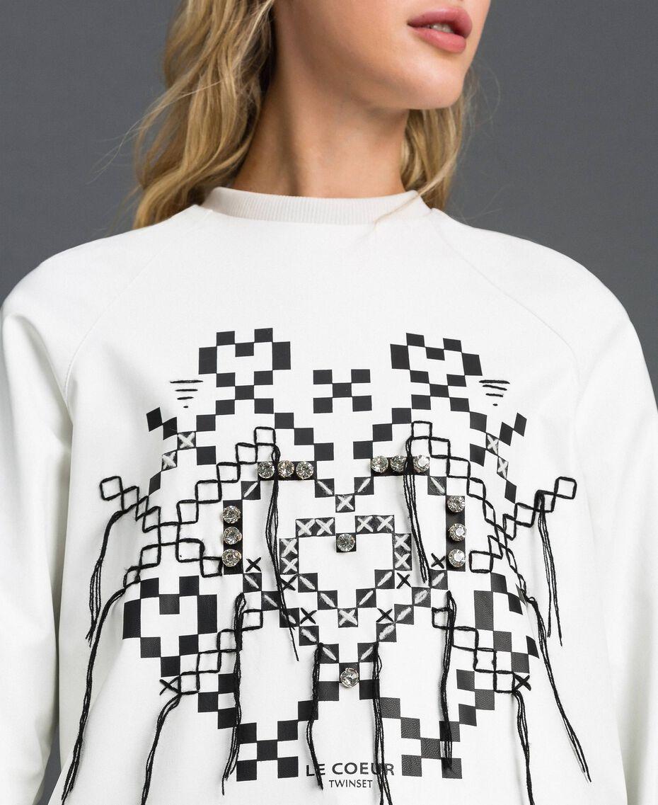 Sweat en similicuir avec imprimé et broderie Blanc Neige Femme 192ST2012-01