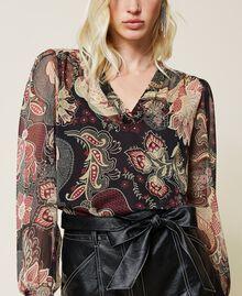 Blusa in creponne a fiori Stampa Indiam Flower Nero Donna 212TP2642-05