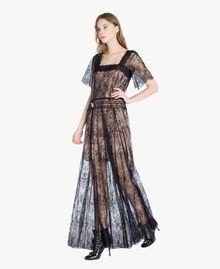 Langes Kleid aus Spitze Schwarz Frau PS821F-02