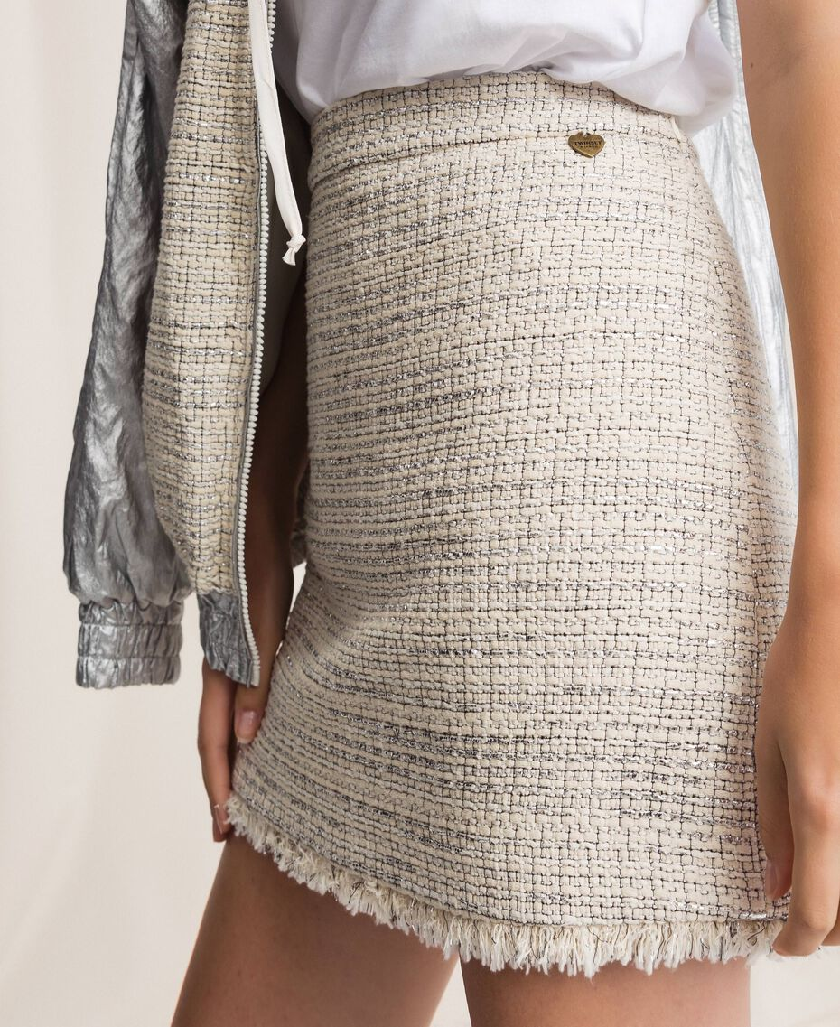 Bouclé fabric short skirt Multicolour Ivory / Silver Grey Woman 201TP2245-01