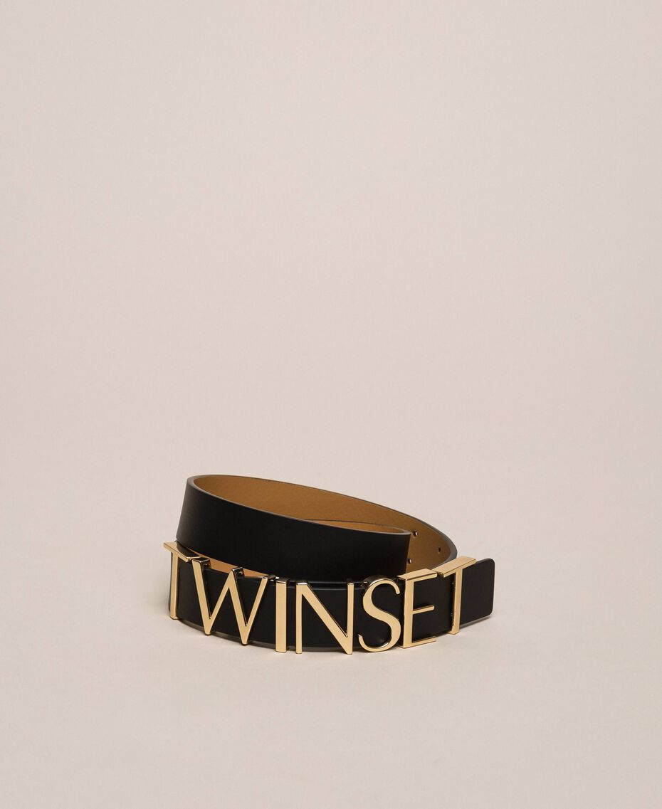 Leather belt with lettering logo Black Woman 999TA4321-03