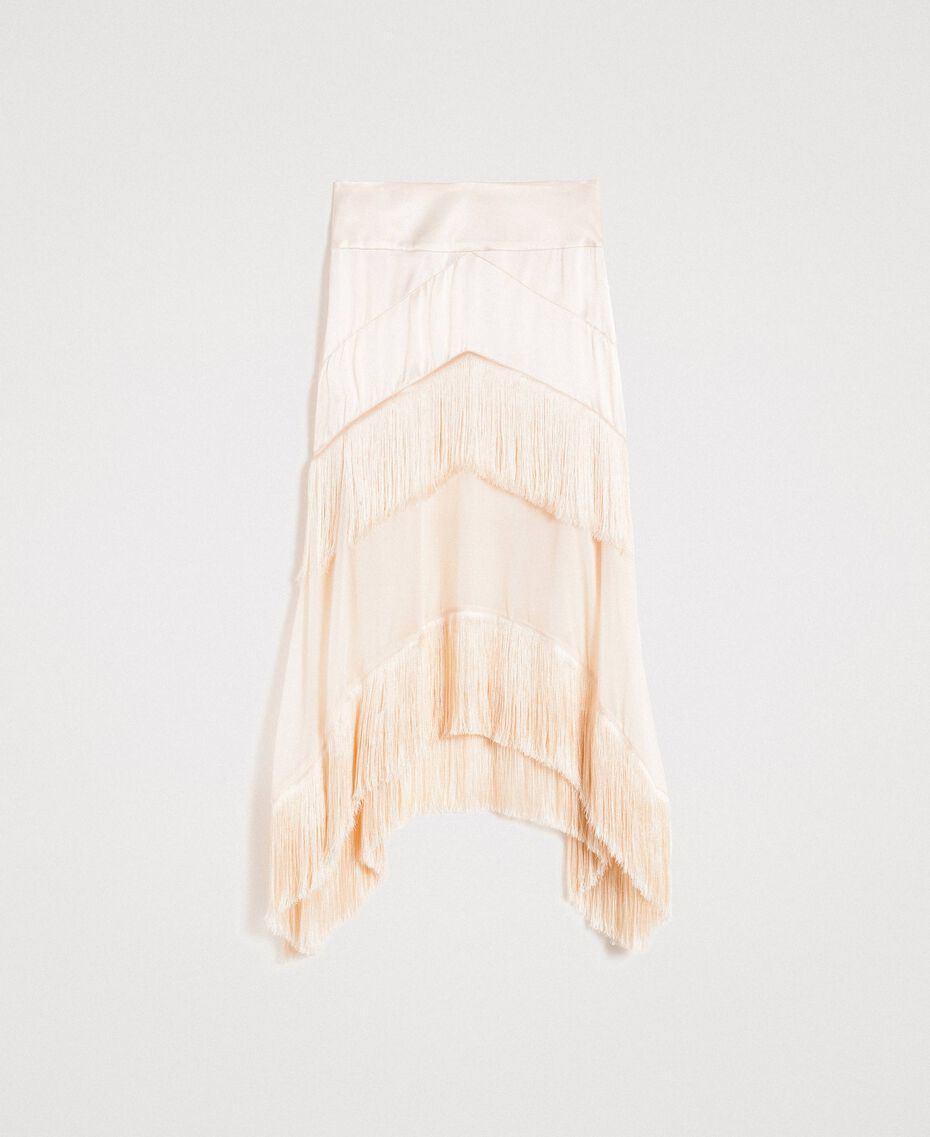 """Long satin skirt with flounces and fringes """"Milkway"""" Beige Woman 191LM2BCC-0S"""