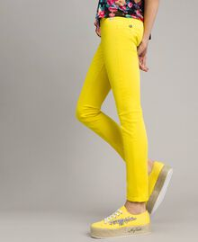 Skinny trousers with rhinestone heart Fluorescent Yellow Woman 191MT2446-03