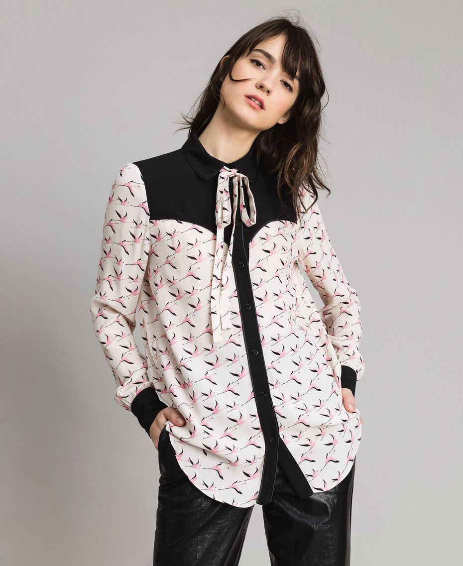 Flamingo print shirt Flamingo Print Woman 191TP2762-02
