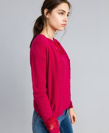 "Wool and cashmere mandarin collar top with lace ""Azalea"" Fuchsia Woman TA83AJ-02"