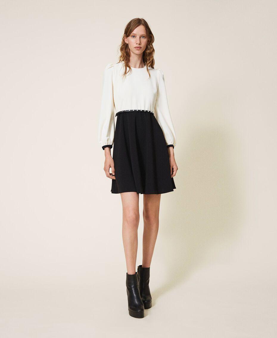 Two-tone crêpe dress with belt Two-tone Parchment White / Black Woman 202TT2337-01