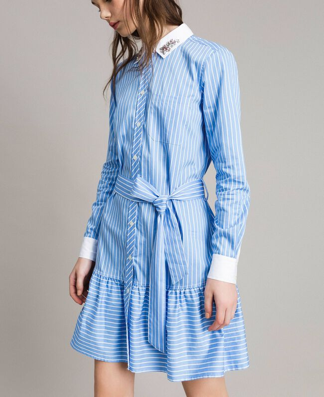 Poplin shirt dress with embroidery Woman, Blue   TWINSET Milano