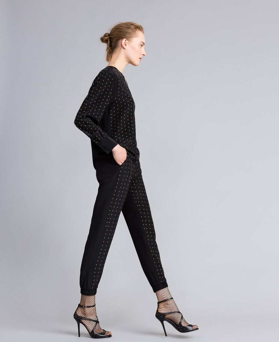 Studded silk blouse Black Woman PA82EX-02