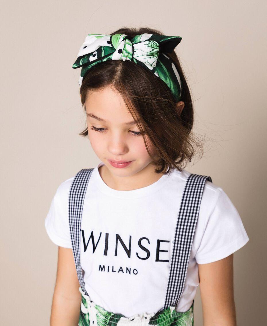 Ободок для волос с принтом и бантом Принт Тропический Горошек Зеленый / Черный Pебенок 201GJ4306-0S