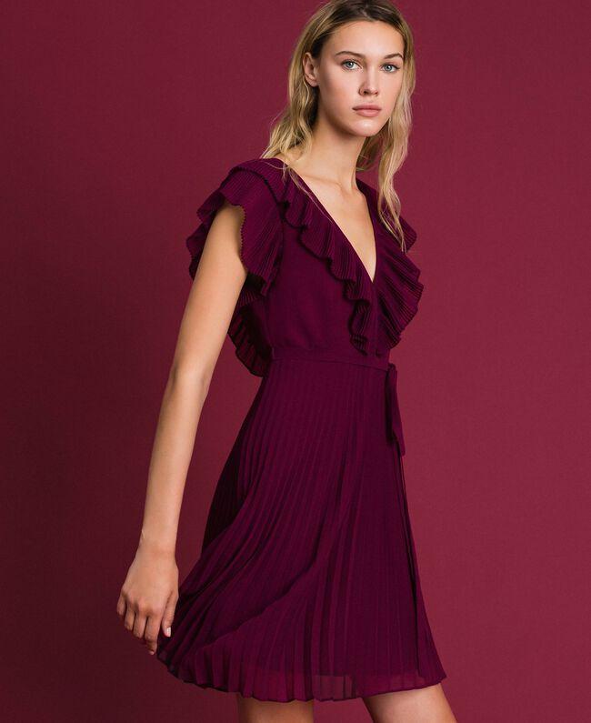Robe en crêpe georgette plissé Rouge Velours Femme 192TT2071-01