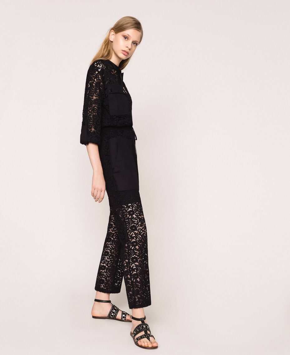 Macramé lace jumpsuit Black Woman 201TP2195-02