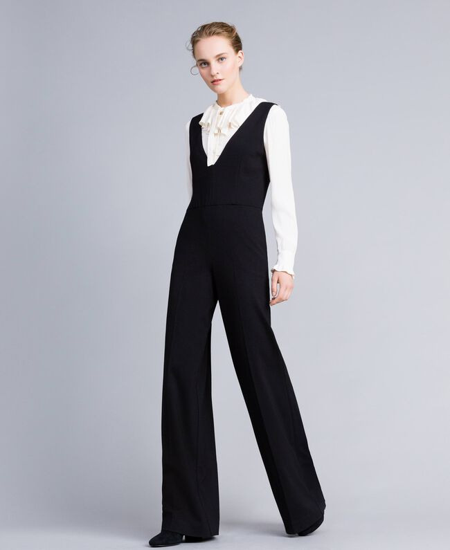 "Sleeveless jumpsuit with silk blend shirt Bicolour Black / ""Snow"" White Woman PA8212-01"