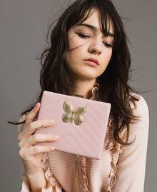 Matelassé leather clutch bag Pink Pearl Woman 191TA7196-0S