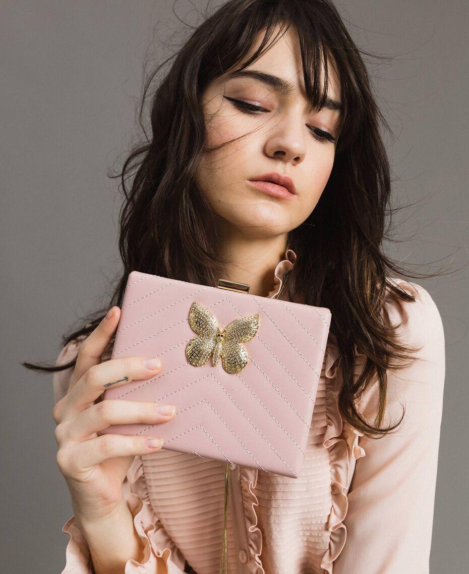 Pochette en cuir matelassé Perle Rose Femme 191TA7196-0S