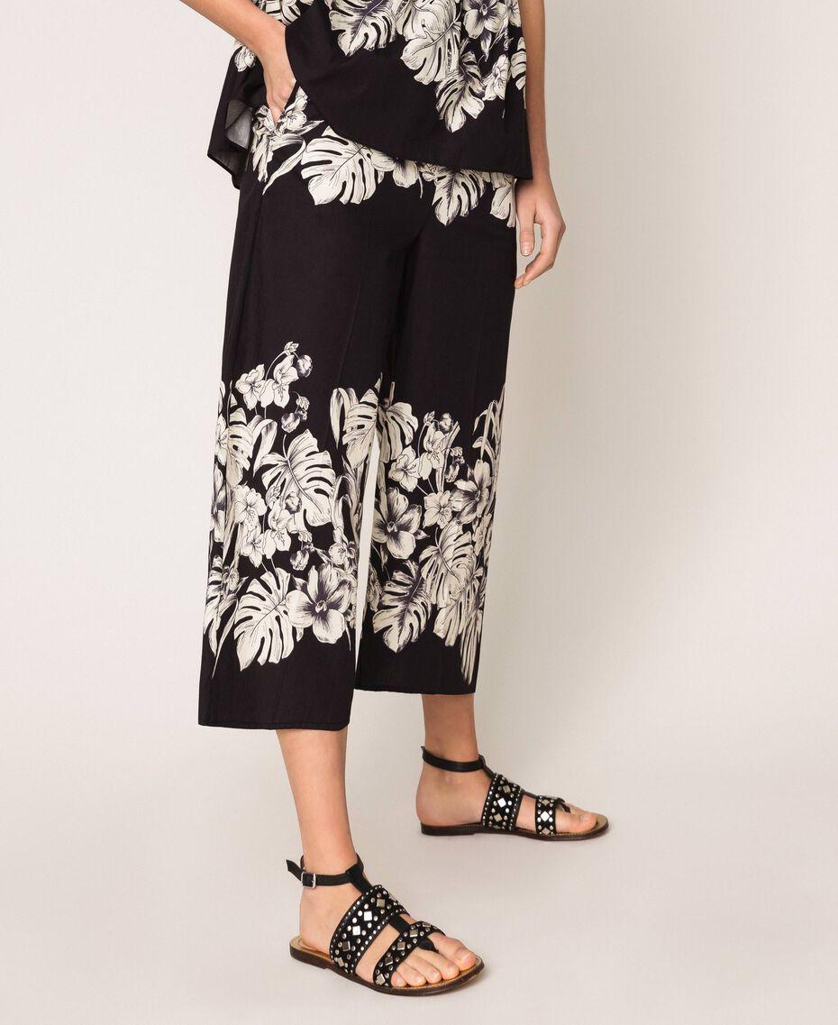 Pantalon cropped en popeline florale Imprimé Fleur Graphique Noir Femme 201TT2316-03