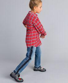 Maxi chemise en jacquard à carreaux Jacquard Rouge Carreaux Coquelicot Enfant GA824N-02