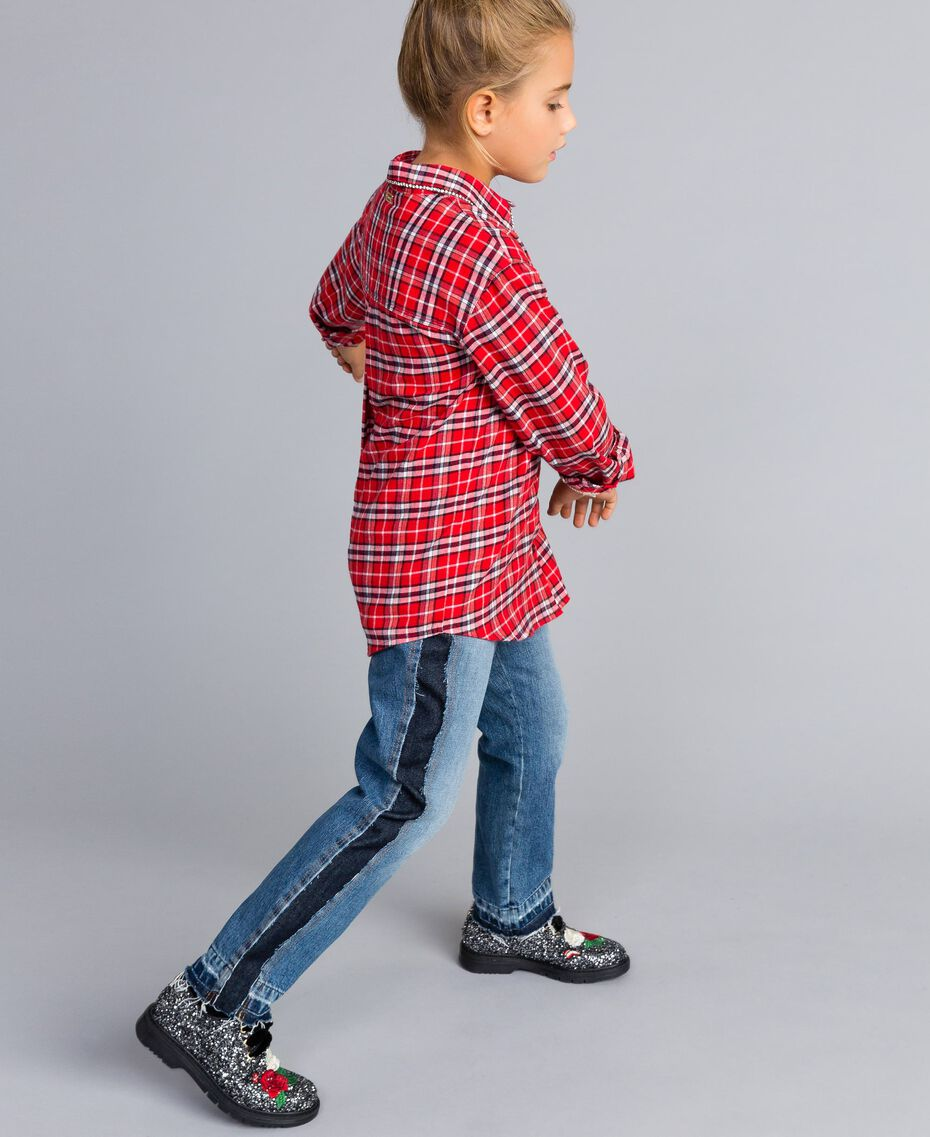 "Maxi camicia jacquard check Jacquard Rosso ""Quadri Papavero"" Bambina GA824N-02"