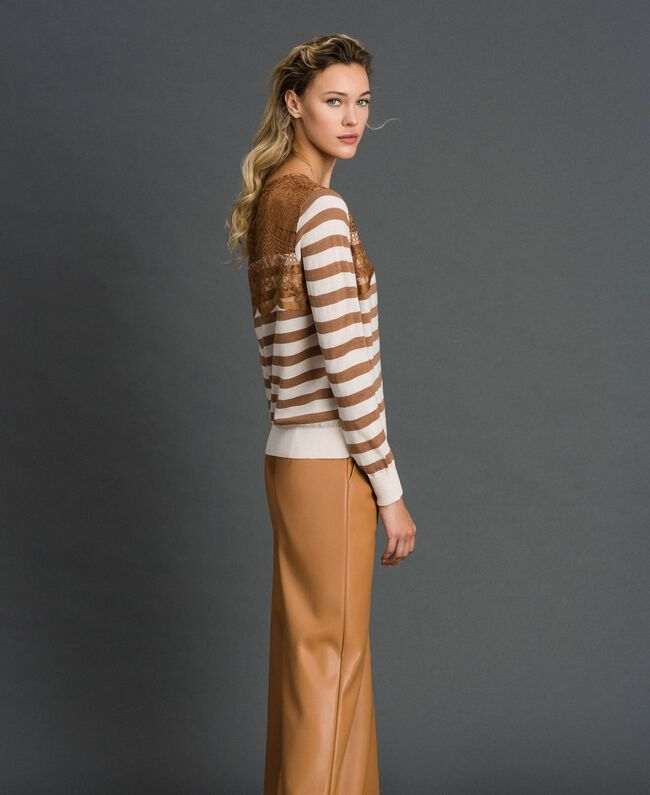 """Wool blend jumper with stripes and lace Creamy White / """"Sequoia"""" Beige Woman 192ST3010-03"""
